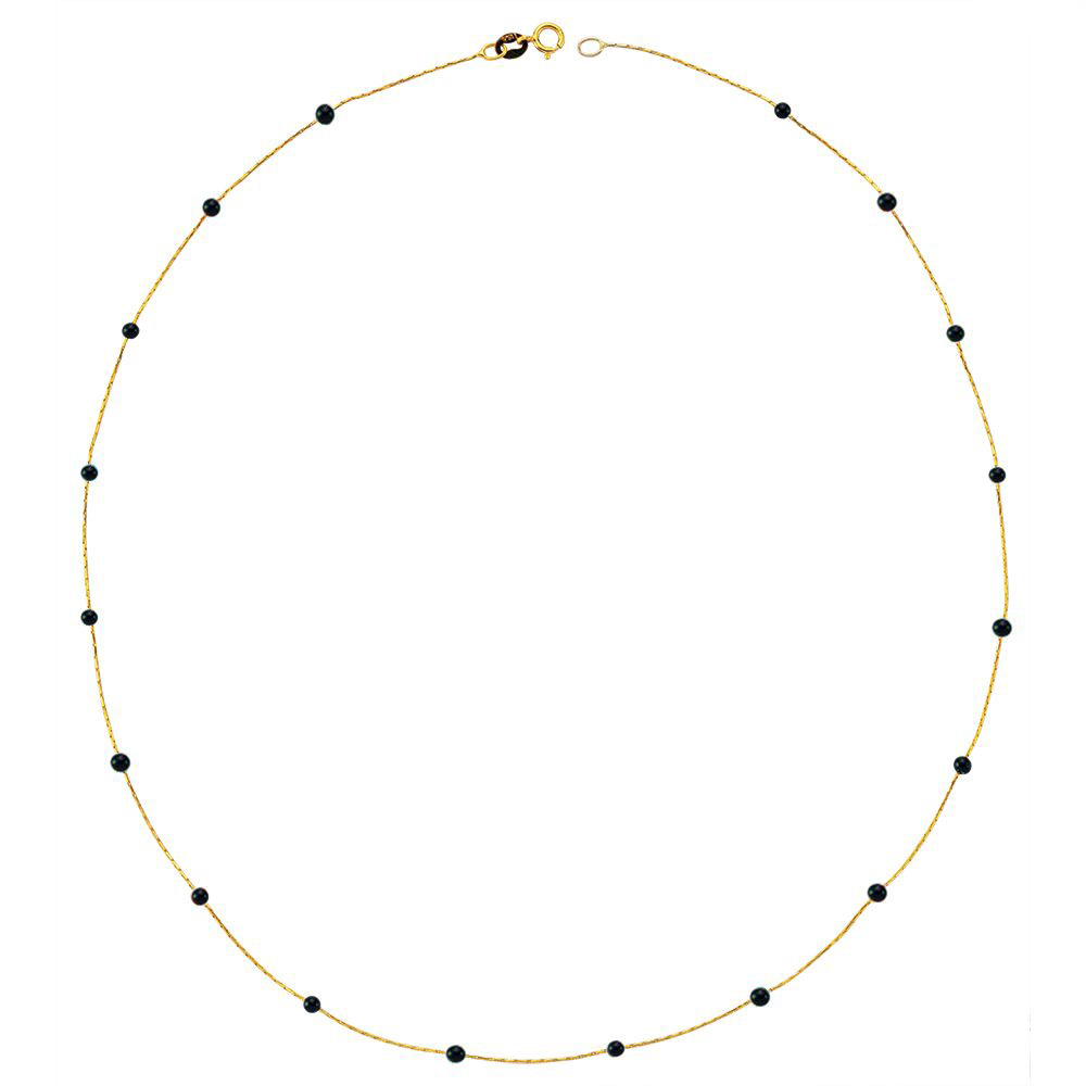 Glorria Gold Onyx Pave Row Necklace