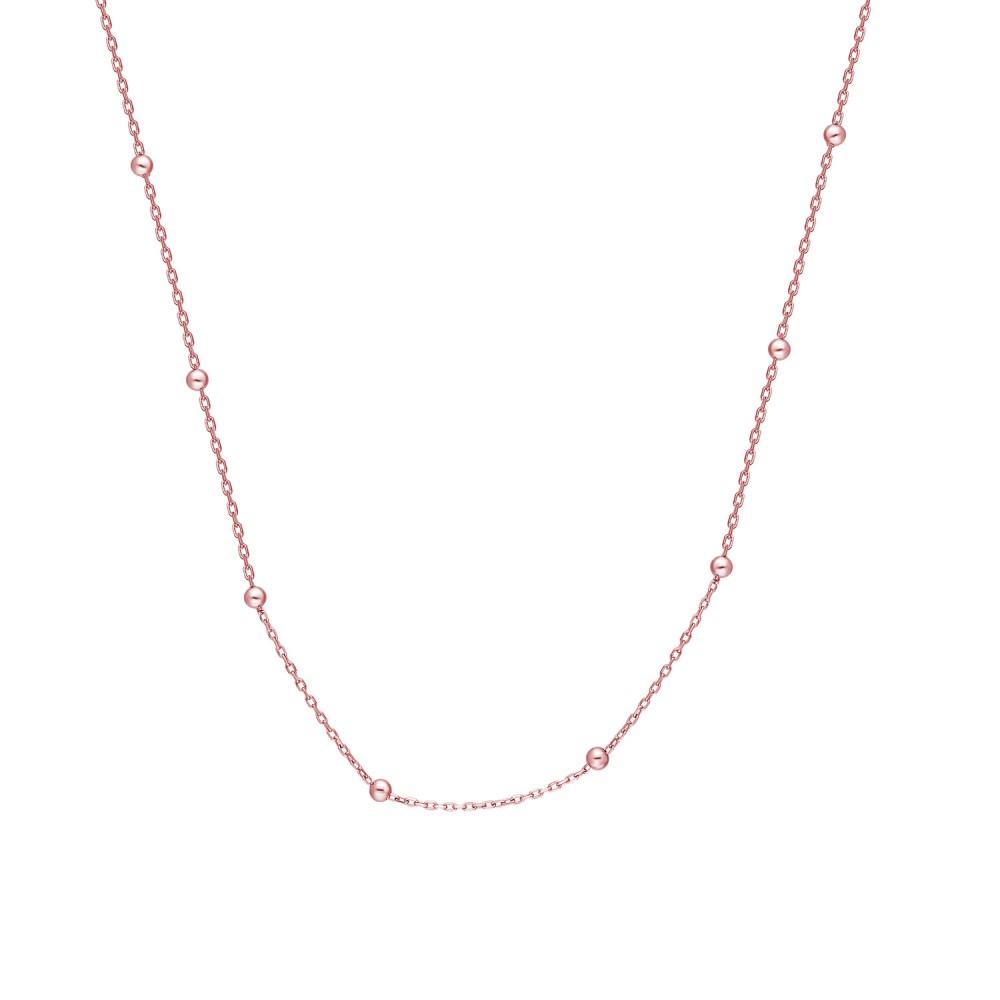 Glorria Silver Rose Ball Chain